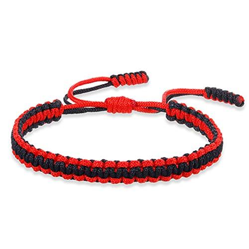 N/A Aniversario Pulseras de Cuerda Trenzada roja de la Suerte para Mujeres y Hombres, Pulsera Ajustable con dijes Hechos a Mano, joyería de Moda, Regalos, Amigos