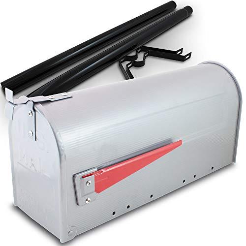 US Mailbox Amerikanischer Briefkasten Standbriefkasten Wandbriefkasten Letterbox Silber Inclusive Standpfosten