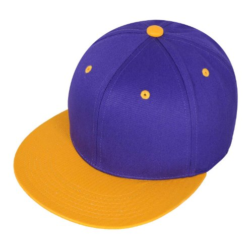 Raw Blue 2-Tone Basic Snapback Cap in Purple Gold