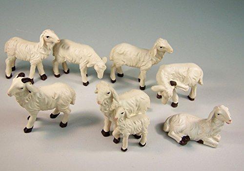 Dekoprojekt Schafe, Schafherde 7 tlg. aus Polyresin, handbemalt. 3,2-5 cm. Für Weihnachtskrippe.