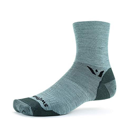 Swiftwick- PURSUIT FOUR Ultralight Trail Running and Cycling Socks, Merino Wool (Heather, Large)