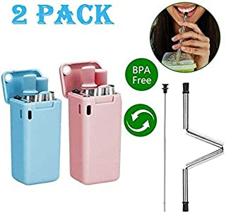 2-Pack Foldable Straw Reusable Retractable Stainless Steel Food Grade Portable Carrying Straws, Including Hard Case, Steel Tubes, Cleaning Tools (Blue&Pink)