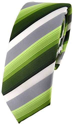 schmale TigerTie Designer Krawatte in grün dunkelgrün grau weiss gestreift - Schlips Tie