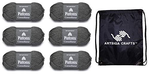 Patons 244510-10044 - Juego de 6 madejas para tejer canadiana sólidos (mismo colorante) con 1 bolsa de proyectos artsiga Crafts.