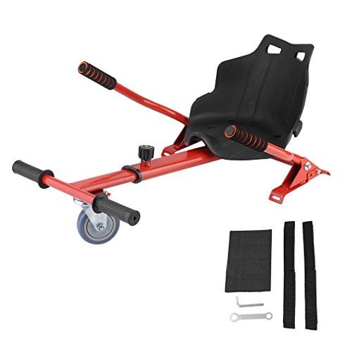 LONGITUDE Hoverboard Sitz, Hoverboard Kart Aufsatz, Sitzscooter Sitz für Elektroscooter Kinder Erwachsene 58 × 44 cm,Erweiterung für alle Hoverboards,6,5/8/10 Zoll (Red)