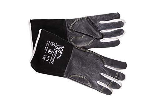 WELDINGER Schweißerhandschuhe WIGpro Gr.M/9 feines Rindnarbenleder schwarz mit Stulpe aus Rindspaltleder