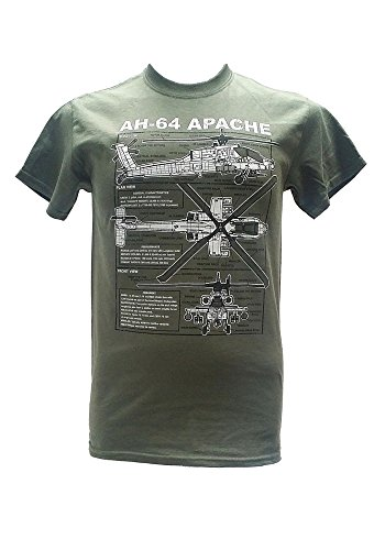 The Wooden Model Company Ltd Apache AH-64 Helikopter - United States Army/Military T-shirt met blauwdruk ontwerp
