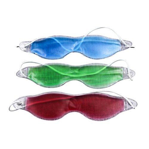 Supvox Augenmaske Gel Schlafmasken Eisbeutel Augenkühlung Maske Augenklappen für Lindern Augenringe Schwellungen Flugzeug Reise 3 Stück (Blau, Grün, Rot)
