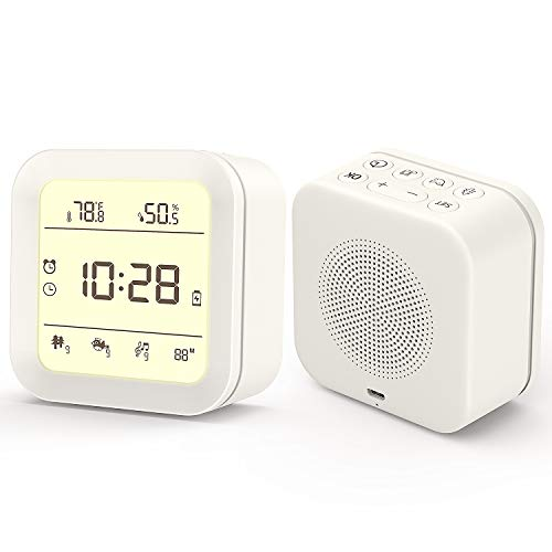 White Noise Machine, Sound Machine for Sleeping Baby Adults, Portable Sleep Machine with 27 HiFi Sound, Night Light, Alarm Clock, Thermometer, for Office Privacy & Noise Canceling, Home, Travel