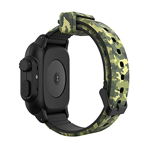 Para Apple Watch Band 6 5 4 3 2 SE 44/40 / 42mm Pulsera deportiva de camuflaje Funda impermeable + Funda de correa de silicona para iWatch Series 6