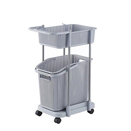 Z@SS Multi-Tier Basket Stand Kitchen Bathroom Material PP Rolling Storage Carrito Con Ruedas, Basket Con Mango Y Cesto De Ropa Extraíble, Storage Rack,Gray,2Tier