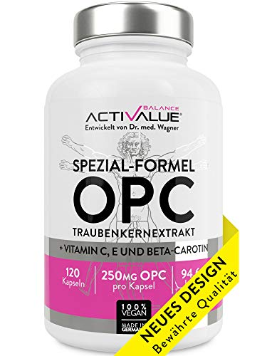 ACTIVALUE Premium-OPC Traubenkernextrakt - Dr.med.Wagner Erfolgs-Formel – 4-Monatspackung mit 250mg OPC pro Kapsel (525mg Traubenkernextrakt), 100{993a1b89dfdf31a2878bae95cee83846a4a25106fc5481545fe154996bfdce04} vegan, verstärkt durch Vitamin C, E, beta-carotin