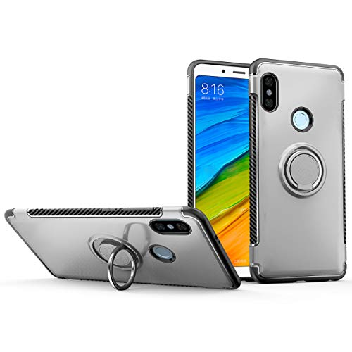 stengh Funda Xiaomi Redmi Note 5 Premium Edition MEG7S / M1803E7SG Xiaomi Redmi Note 5 Pro MZB6083IN (Xiaomi Whyred) Case Cover + 360 Degree Rotating Ring Holder Kickstand Silver