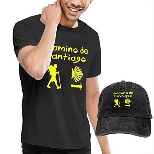 AYYUCY Camisetas y Tops Hombre Polos y Camisas, Novelty Men's Camino De Santiago Compostela T-Shirt and Cowboy Hat