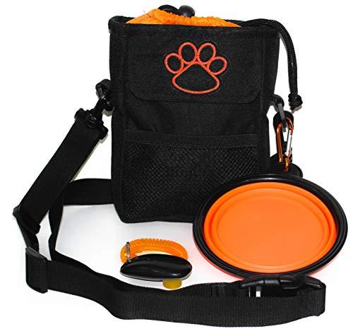 Pawzitive Petz Tasche für Hunde-Leckerlis, zum Spazierengehen, Welpen-Trainingstasche, faltbarer Reise-Fressnapf, Wassernapf, Trainings-Klicker