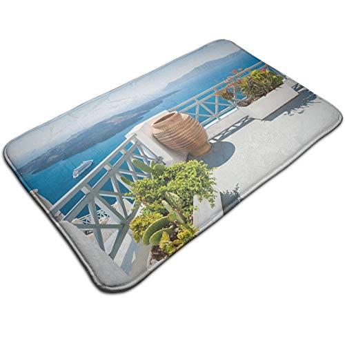 Alfombra de decoración, Santorini Island, Grecia, árboles del mar Egeo, flores cielo claro, impresión fotográfica, antideslizante, para interiores y exteriores