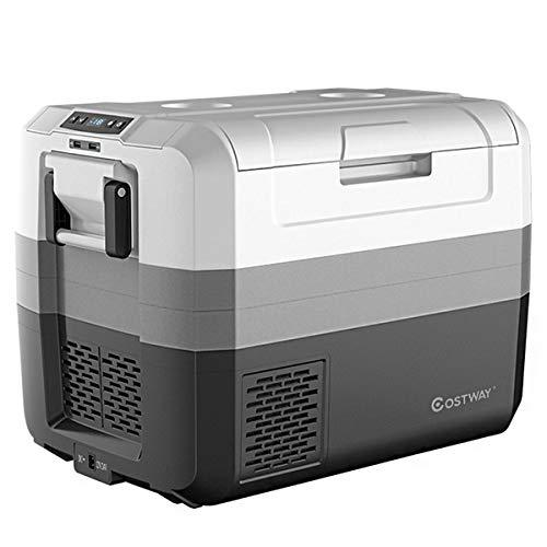 COSTWAY Autokühlschrank Kühlbox elektrisch Mini-Kühlschrank Reisekühlschrank, Kühl- und Gefrierkombination / 60W / -26℃ bis 10℃ / DC 12/24V / AC 100-240V / für Auto, LKW, Wohnmobil (55L)