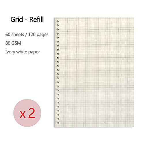 LCJQ Cuadernos de redacción En Blanco, Rejilla, Forro, Disponible A4, A5 Sketchbook/Diario/Planificación Revista Escuela Notebook1PC Papel (Color : 2 PCS Grid Refill, tamaño : A5)