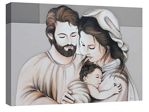 canvashop Quadro Capezzale Sacra Famiglia 07 Quadri Moderni Soggiorno Stampa su Tela con Telaio cm 100x70 Camera da Letto