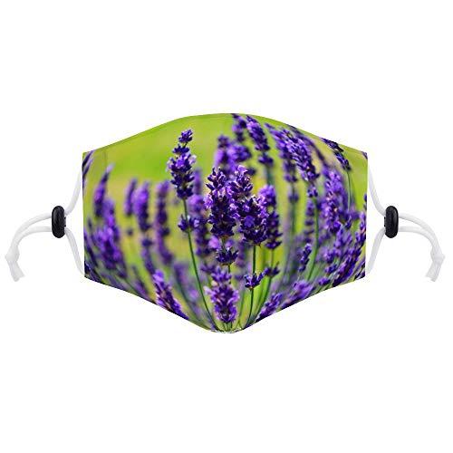 Cheyan Masker Gezicht Respirator Luchtvervuiling Fietsen Mond Maskers Met Twee Filters Voor Volwassen Vrouwen Mannen Lavendel Bloemen Paars Wild Plant