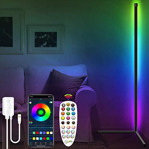 Fortand LED Stehlampe Dimmbar, LED Stehleuchte mit Fernbedienung APP Steuerung Musik Sync Farbwechsel Lichtsaeule RGB Stehleuchte Leselicht, Modern Eck Standleuchte für Wohnzimmer Schlafzimmer 150cm