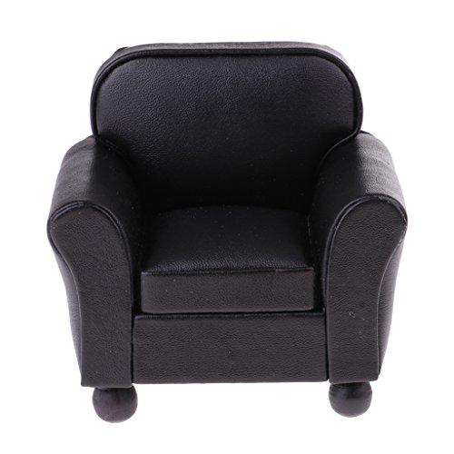 Homyl Miniatur Puppen Sofa Couch Einzelsofa Sessel aus Kunstleder für 1:12 Puppenstube Wohnzimmer Dekoration - Schwarz, # B