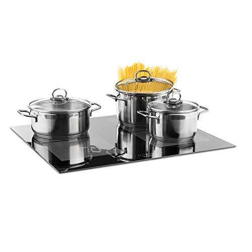 Klarstein Virtuosa Flex 60 Induktionskochfeld - Kochplatte, Einbau-Kochfeld, 4 Zonen, 7200 W, Ceran-Oberfläche, Topferkennung, Restwärme-Anzeigec, 9 Stufen, Digitaldisplay, schwarz