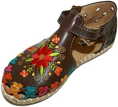 Ladies Closed Toe Genuine Authentic Mexican Leather/Flower Embro