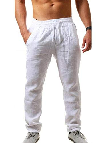 SOMTHRON Men's Loose Plus Cotton Linen Summer Breathable Casual Cropped Pants Solid Drawstring Sweatpants Joggers(WH-M)