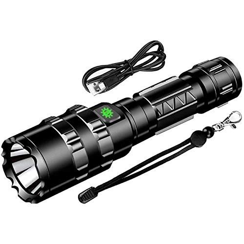 ZHANG Antorcha Linterna 5 Modos de Luz con Cargador USB Super Brillante 2400 Lúmenes Potente Táctica, Antorcha de Mano