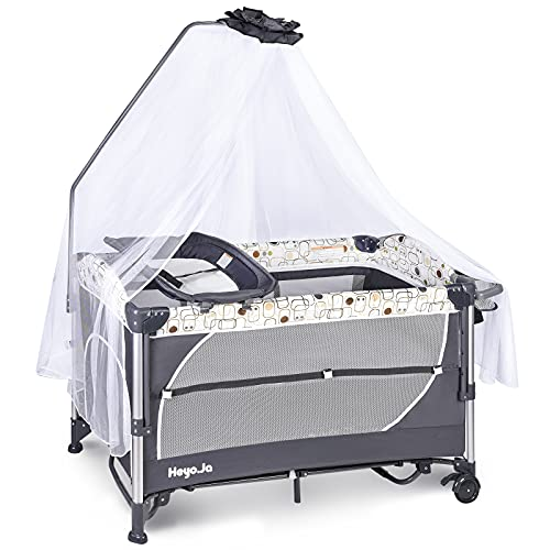 Heyo.Ja Double Layer Baby Portable Playard, 5 Height Adjustable Crib,Changing Table, Foldable Bassinet Bed with Luxury Mosquito Net,Toys Bag,Wheels & Brake, Game Entrance for Boys Girls(Grey)