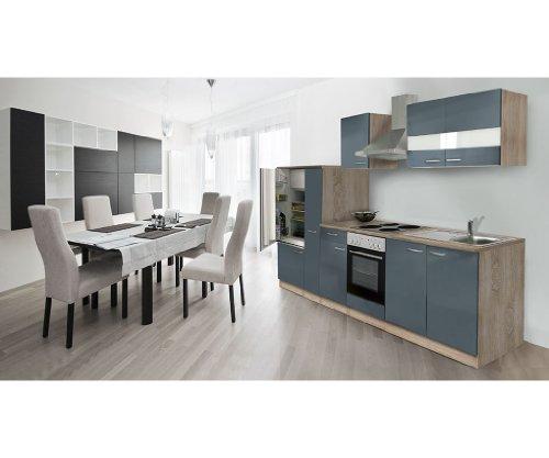 respekta Einbau Küche Küchenleerblock 300 cm Eiche Sonoma Nachbildung Grau Apothekerschrank