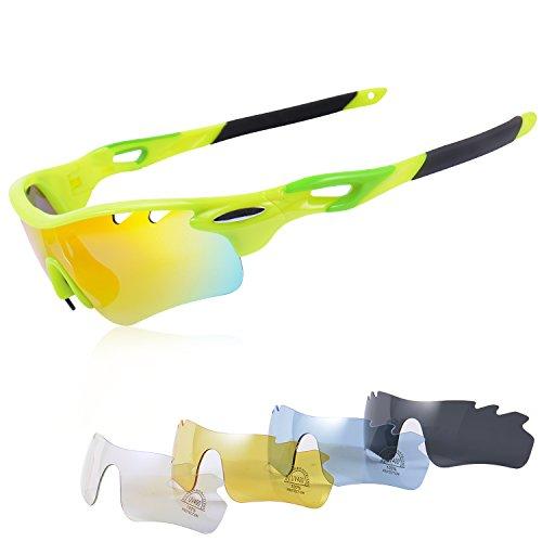 Gafas Ciclismo Polarizadas con 5 Lentes Intercambiables Gafas de Sol Deportivas Antivaho Antireflejo Anti Viento y UV Adaptadas a Deporte Carrera Running Bicicleta MTB para Hombre y Mujer