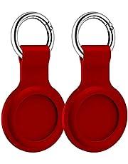 Silikonowa skóra ochronna Kompatybilna z Airtags Tracker Case Cover z breloczki czerwony 2 sztuk