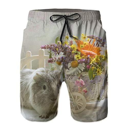 Conejillos de Indias Ramos Cesta de Mimbre Troncos de baño para Hombre Pantalones Cortos de Playa de Secado rápido con Forro de Malla Trajes de baño, Talla XL