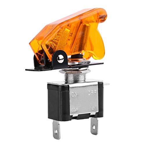 Fydun 12V 20A Cubierta de coche para coche LED amarillo SPST Interruptor basculante Control de encendido / apagado Accesorio de repuesto
