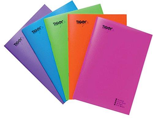 Tiger Stationery bloc de notas o cuaderno de rayas, 10 x A4, tapas de plástico fuerte, 80 hojas, para ejercicios