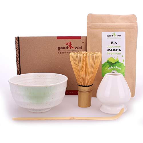 Goodwei Ensemble de Thé Matcha complète incl. 30g thé vert matcha biologique de Japon (Shiro)