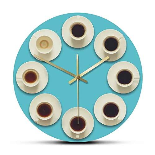 gongyu Vista aérea de los Pasos para Beber una Taza de café expreso Fresco, Reloj Colgante de Pared, Regalo para el Amante del café, decoración de la Tienda de café