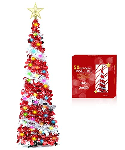 TURNMEON 5 Ft Tinsel Prelit Christmas Tree with Timer 50 Color Lights Star Topper,Pop up Christmas Tree Battery Operated Sequin Ball Ornaments Holiday Xmas Decoration Indoor Home Party(Red)