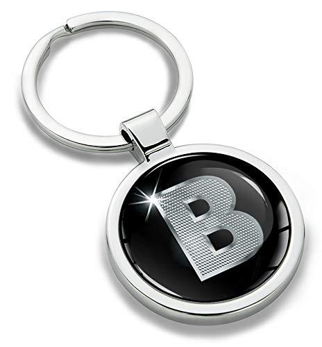 Biomar Labs® Schlüsselanhänger Buchstabe Metall Keyring Buchstaben Initialen Alphabet Autoschlüssel Geschenk Metall-Schlüsselanhänger Schlüsselbund Edelstahl Silber B KK 2