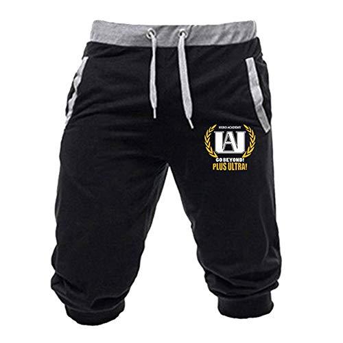 lunanana Boku No My Hero Academia Hose, MHA 3D Gedruckte 3/4 Gym Jogger Jogginghose Cropped Pants(M Black-5)