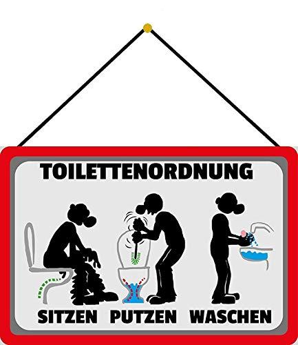 Blechschild 20x30cm gewölbt mit Kordel Toilettenordnung WC Klo Spruch Deko Geschenk Schild