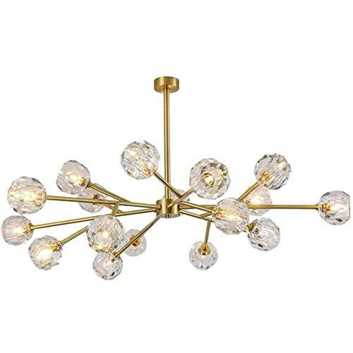 N/Z Home Equipment Lighting K9 Crystal 18 Lights Nordic Modern Light Brushed Brass Branch Mid Century Pendant Lighting Fixture 18-Light Golden