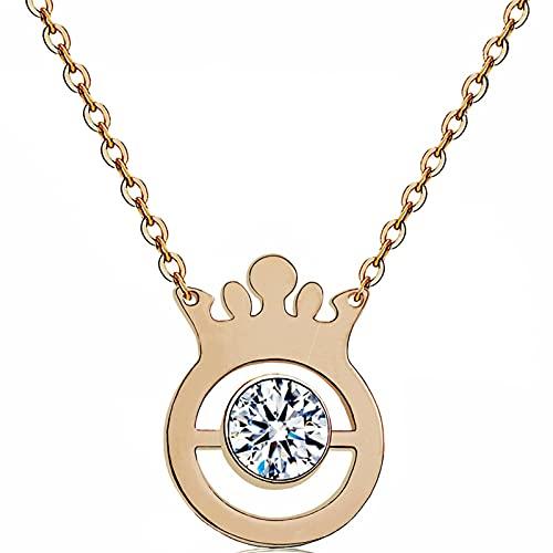 Corona Colgante Simple Collar Simple Acero De Titanio Oro Rosa Collar De Clavícula De Diamantes Accesorios De Moda Señoras Regalos Exquisitos