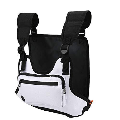 NITRIP Fitness Vest Bag, Lightweight and Flexible Chest Rig Bag, for Biking Running(white)