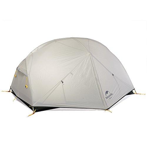 Naturehike Mongar ultraleichtes 20D-Silikon Rucksack-Zelt für 2 Personen, für Rucksacktouren, Radtouren, Wanderungen und Camping, Nh17t007-m, grau