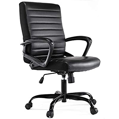 Office Chair Leather, Mid Back Home Office Chair Bonded Leather Computer Swivel Task Desk Chair