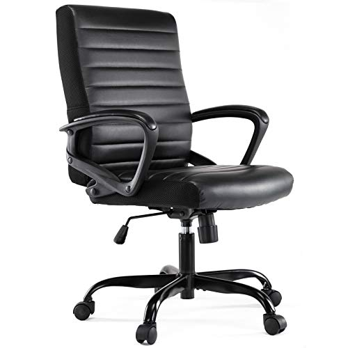 Office Chair, Computer Desk Chair, Executive Task Chair Ergonomic Bonded Leather Mid-Back, Black