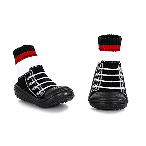 HOWELL Baby Rubber-Grip Sole Socks Shoes Anti Slip Floor Socks with Soft Rubber Bottom Infant Newborn Cotton Sock Boots(Black Tie, 6-12 Months M US Toddler)